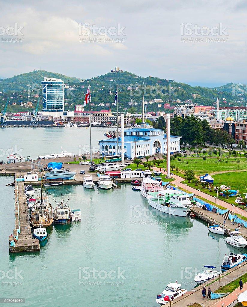 Sea port of Batumi, Georgia stock photo
