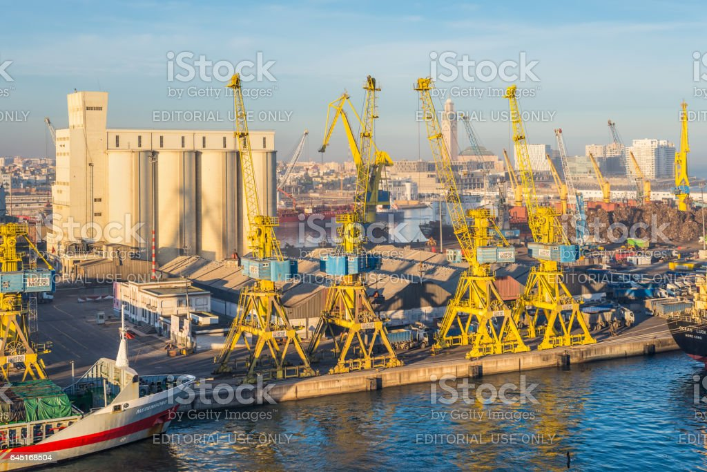 Sea port of Casablanca, Morocco stock photo