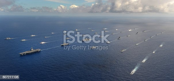 Forty-two ships and submarines representing 15 international partner nations manuever into a close formation during Rim of the Pacific (RIMPAC) Exercise 2014. Twenty-two nations, more than 40 ships and six submarines, more than 200 aircraft and 25,000 personnel are participating in RIMPAC exercise from June 26 to Aug. 1, in and around the Hawaiian Islands and Southern California. The world's largest international maritime exercise, RIMPAC provides a unique training opportunity that helps participants foster and sustain the cooperative relationships that are critical to ensuring the safety of sea lanes and security on the world's oceans. RIMPAC 2014 is the 24th exercise in the series that began in 1971.