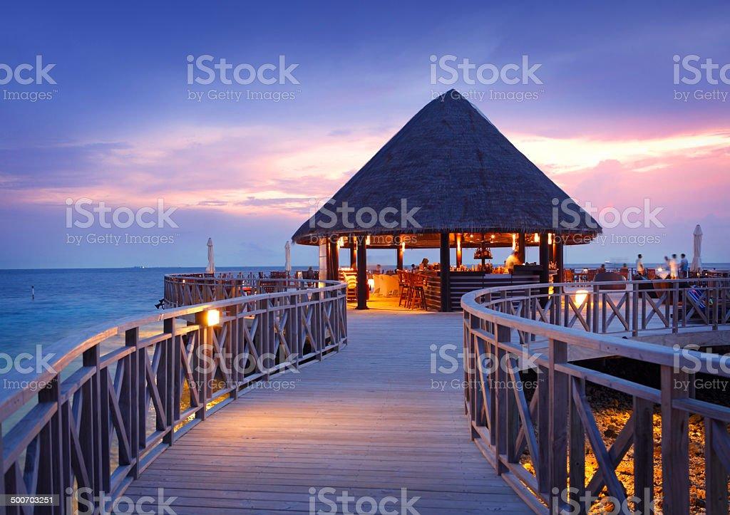 Sea restaurant at Bandos Island in Maldives stock photo