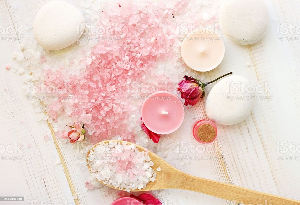 Sea salt aromatherapy spa setting stock photo