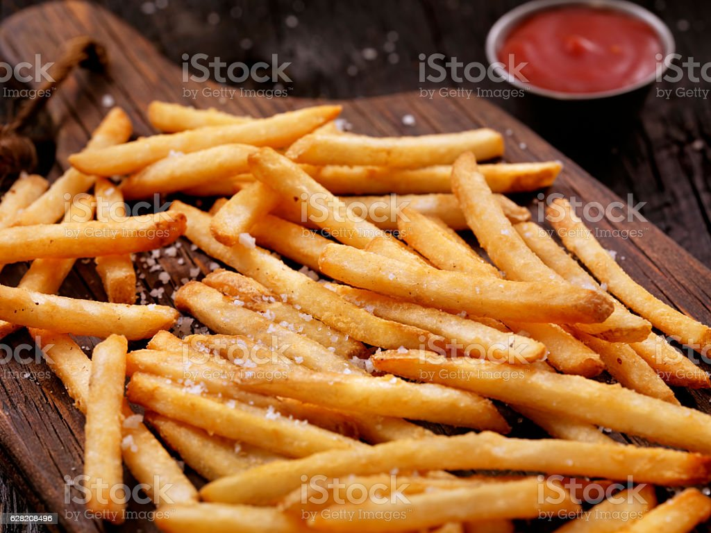 Sea Salt French Fries with Ketchup - fotografia de stock