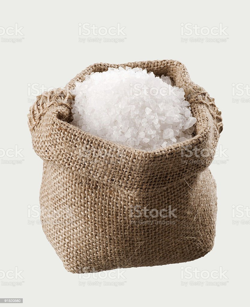 Sea salt in a  burlap sack royalty-free stock photo