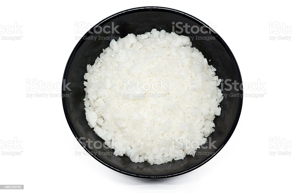 sea salt in a cup stock photo