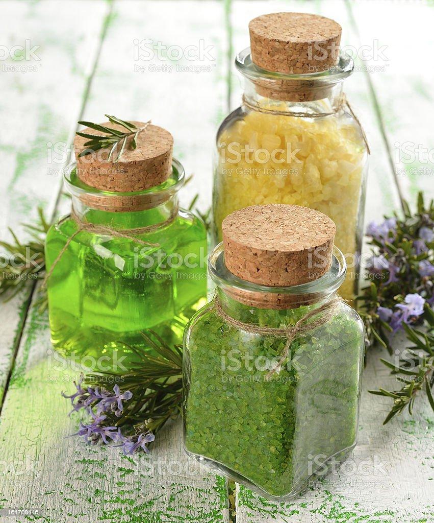 Sea salt in a glass bottle royalty-free stock photo