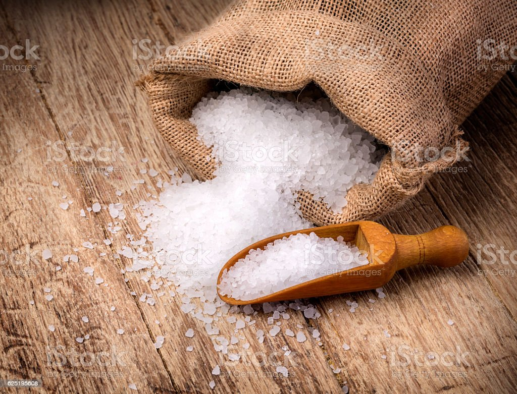 sea salt in the bag stock photo
