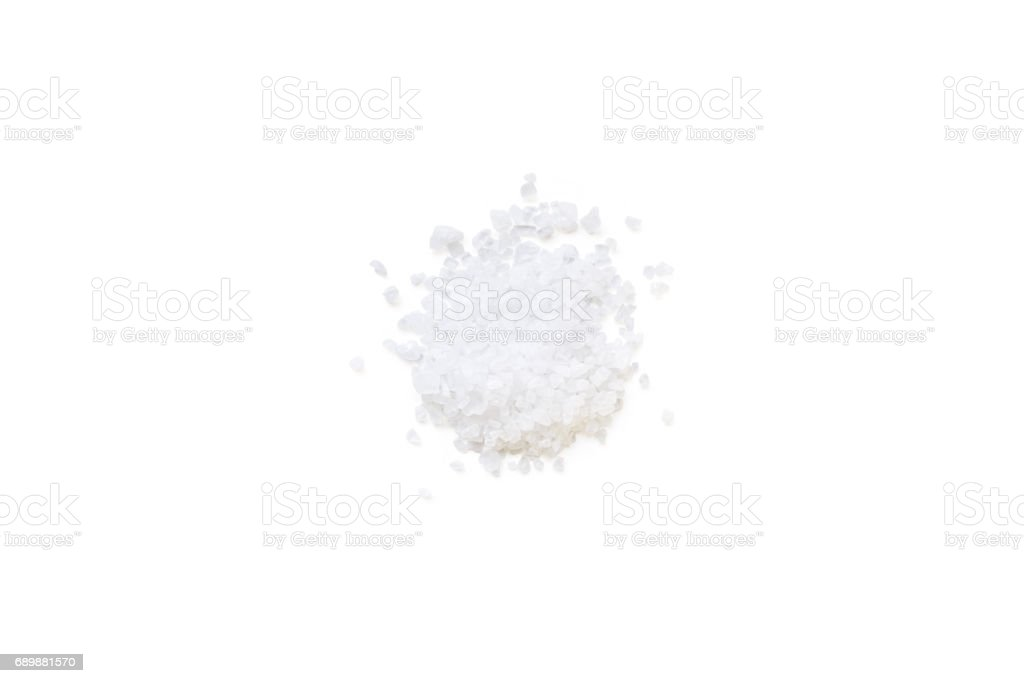 sea salt isolated on a white background stock photo