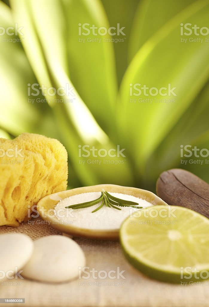 Sea salt, lime, rosemary spa treatment at a luxury resort royalty-free stock photo