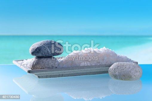 istock Sea salt on a background of seascape 621730430
