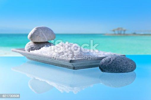 istock Sea salt on a background of seascape 621730508