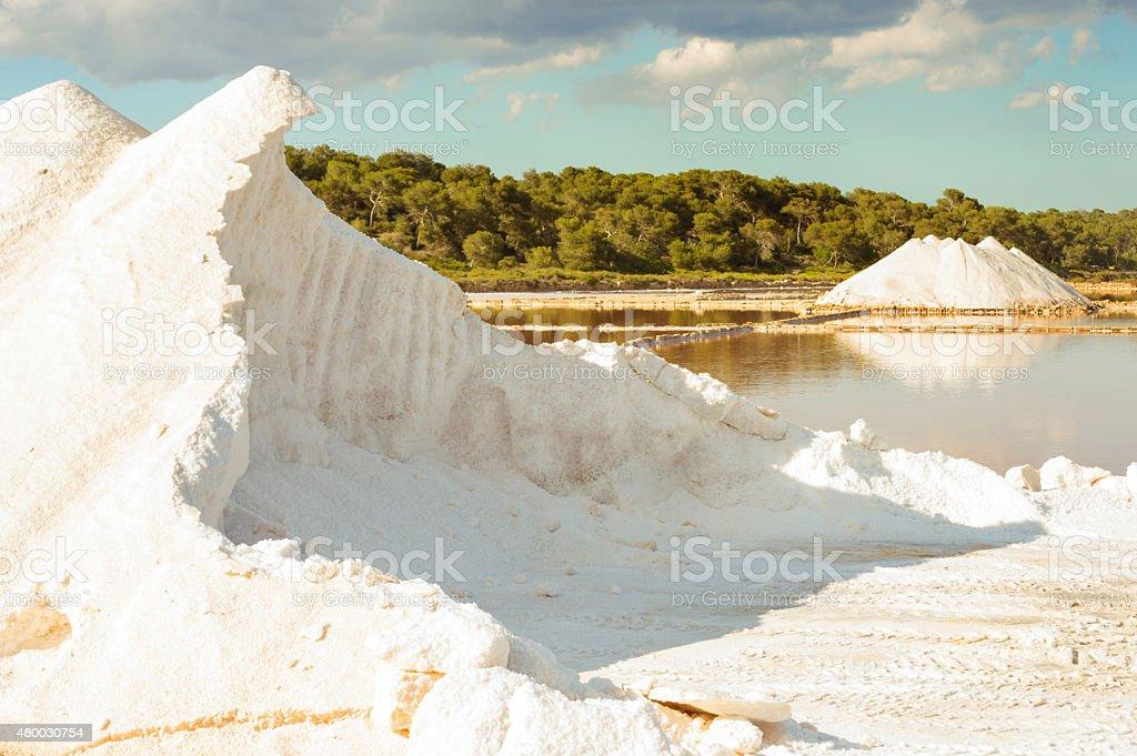 Sea salt piles at Mallorka, Balearic islands, Spain stock photo