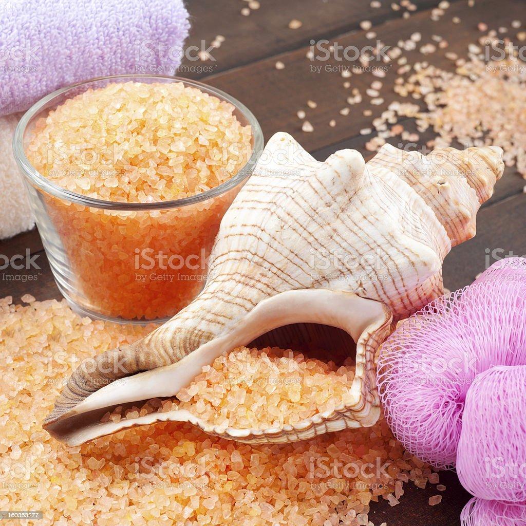 sea salt, towel, bath sponge and shell royalty-free stock photo