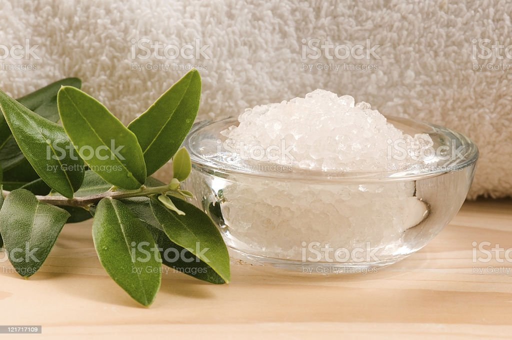 Sea Salt With Fresh Olive Branch. Spa And Wellness royalty-free stock photo