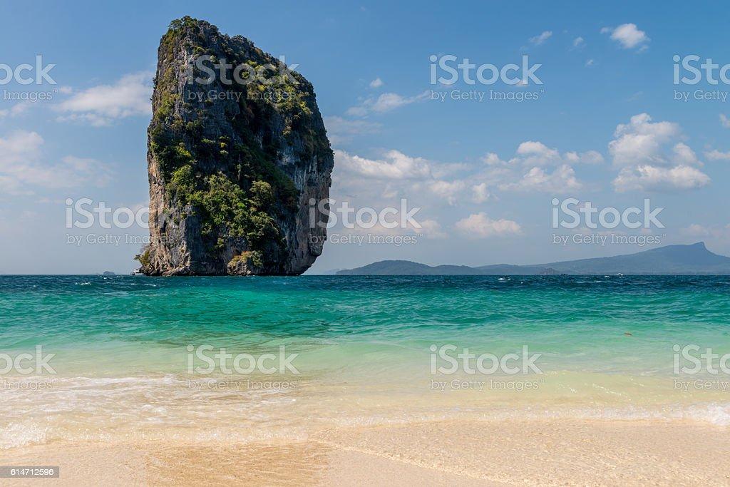 Sea Sand Beach Krabi, Thailand Jan 2016 stock photo