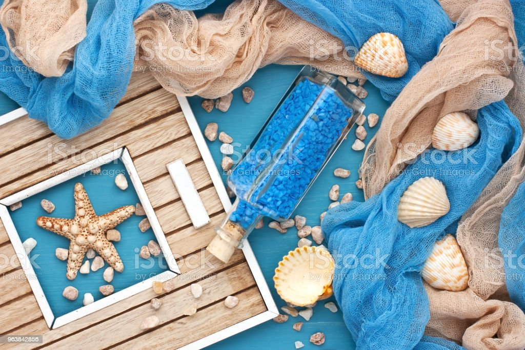 Sea shells and glass bottle with salt stones - Royalty-free Animal Shell Stock Photo