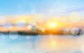 Sea shore horizon landscape illustration blurred  background.