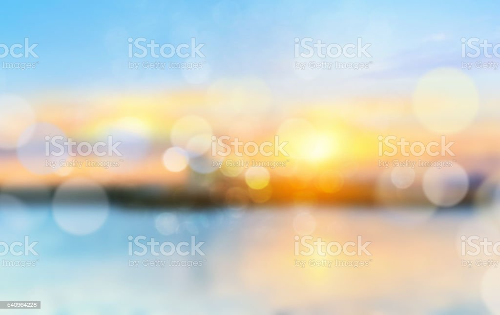 Sea shore horizon landscape illustration blurred  background. - foto stock