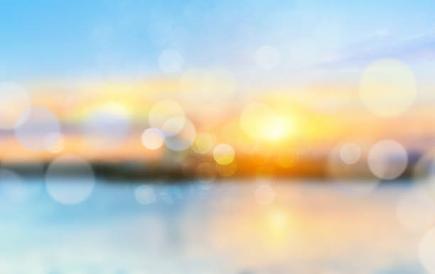 sea shore horizon landscape illustration blurred  background. - luce solare foto e immagini stock