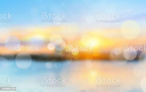 Photo of Sea shore horizon landscape illustration blurred  background.