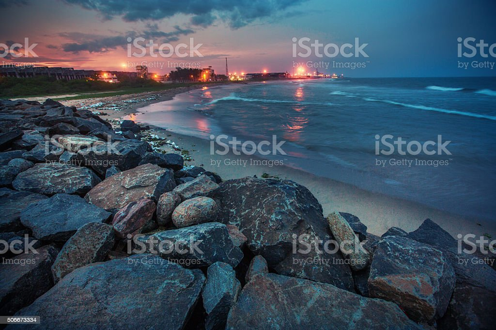 Sea side at night stock photo