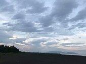 sea side, beach, evening, dawn, beautiful, sky, sands, trees, mountain