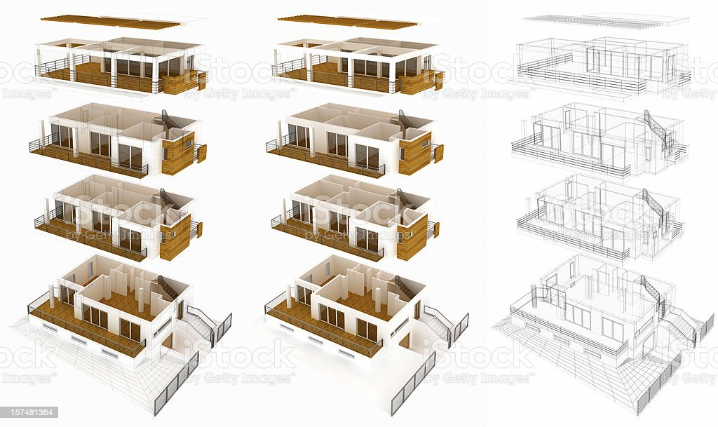 Sea side house, 3 different versions, floor layers royalty-free stock photo
