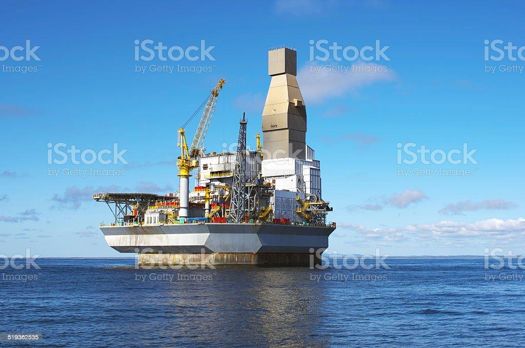 Sea sky oil rig stock photo