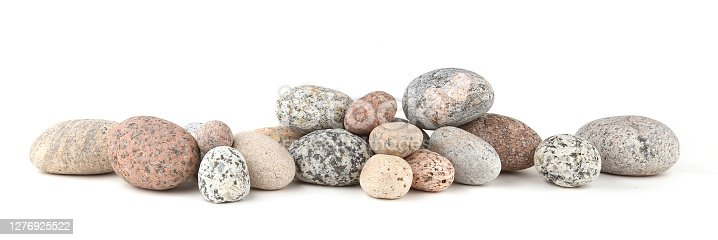 Heap of stacked round pebbles.
