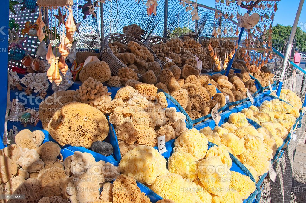 Sea sponges displayed for sale in traditional Greek souvenir shop. stock photo