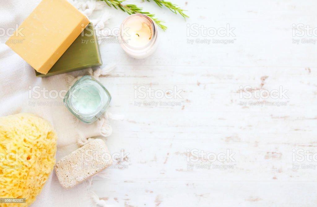 Sea sponge,soap and bath accessories stock photo