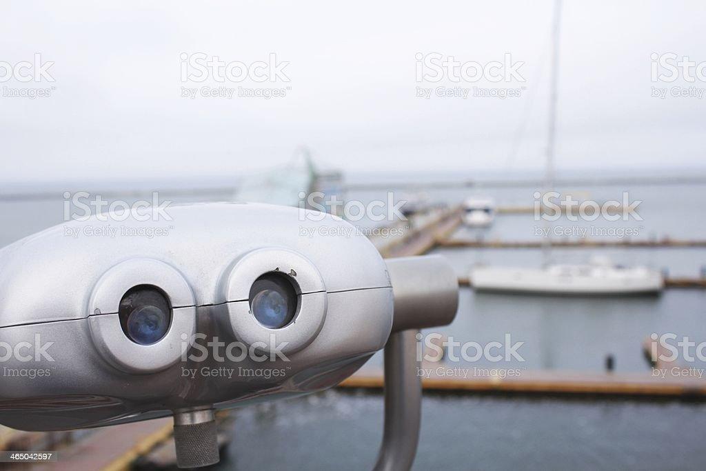 Sea spy viewing machine (binoculars) stock photo