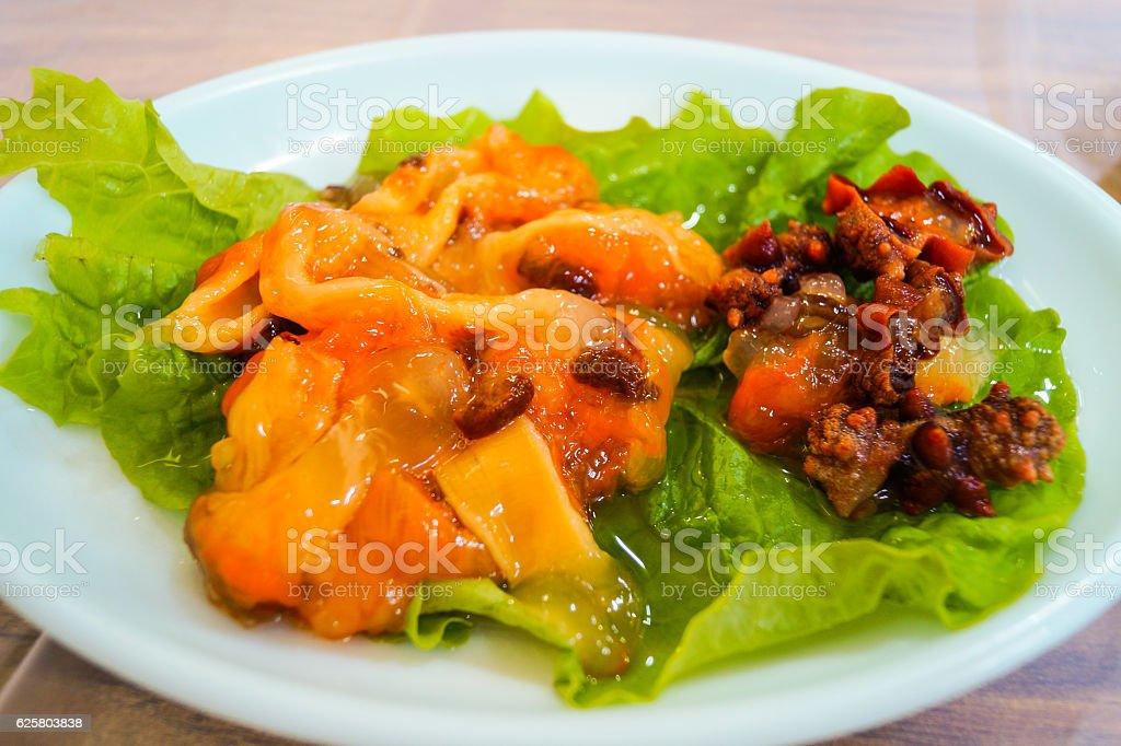 sea squirt sushi in korea stock photo