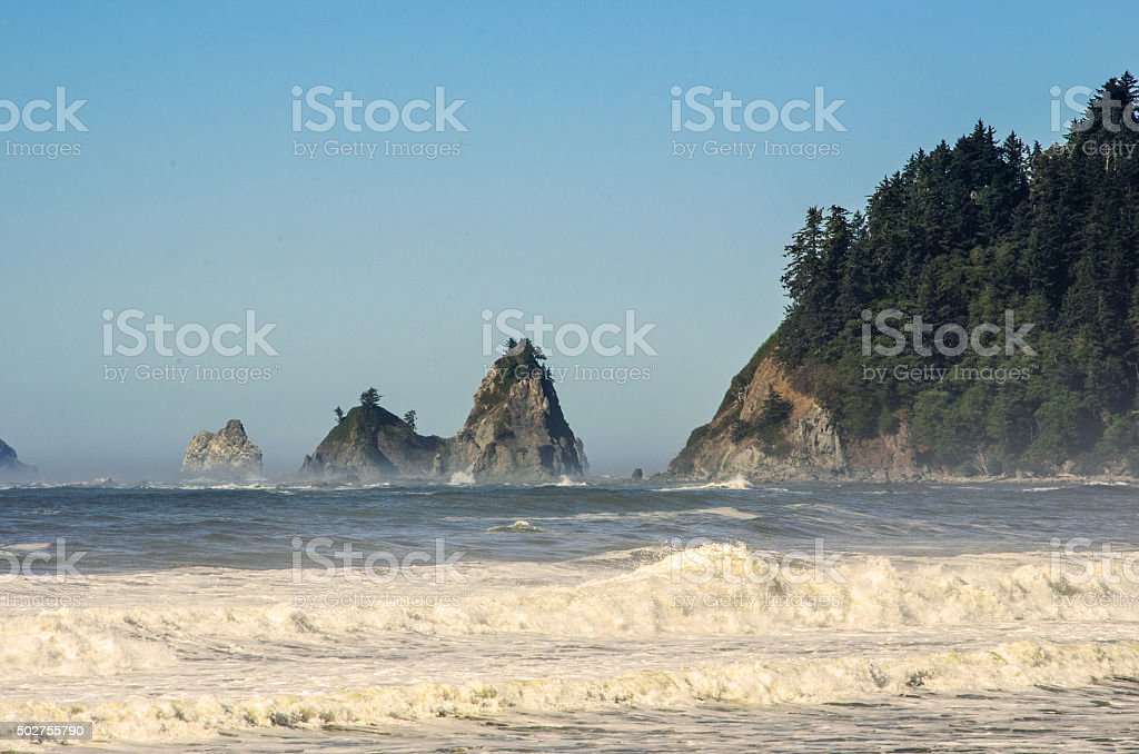 Sea Stack off coast of the Pacific Northwest stock photo