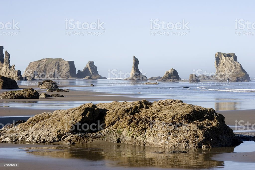 Sea Stacks and Low Tide royalty-free stock photo