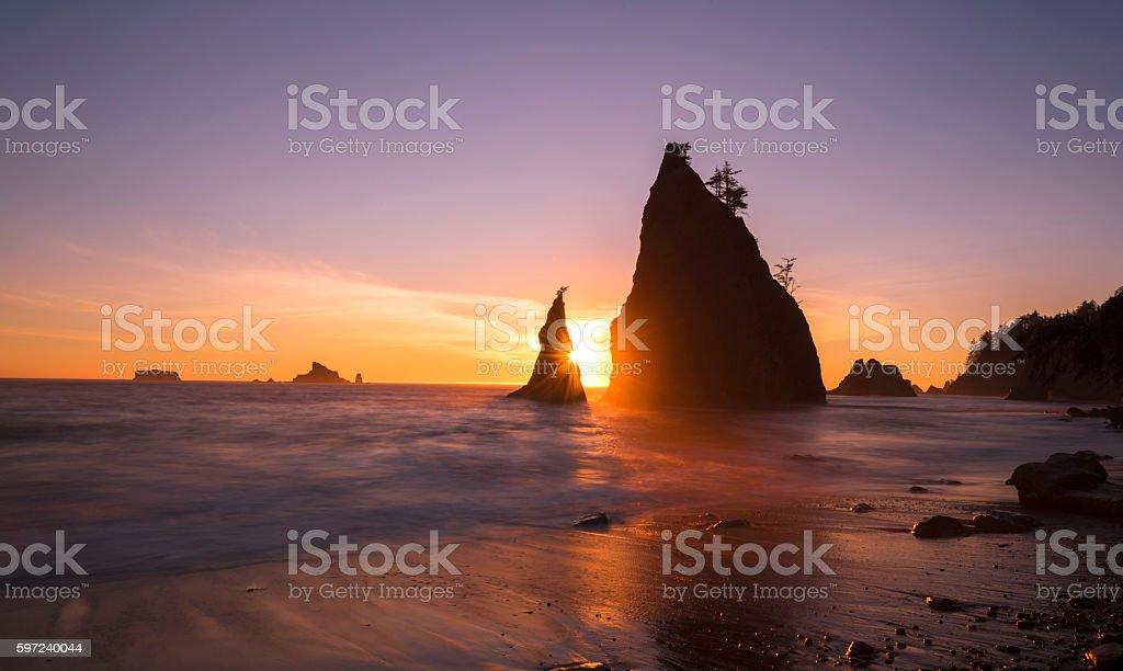 Sea Stacks at Sunset stock photo