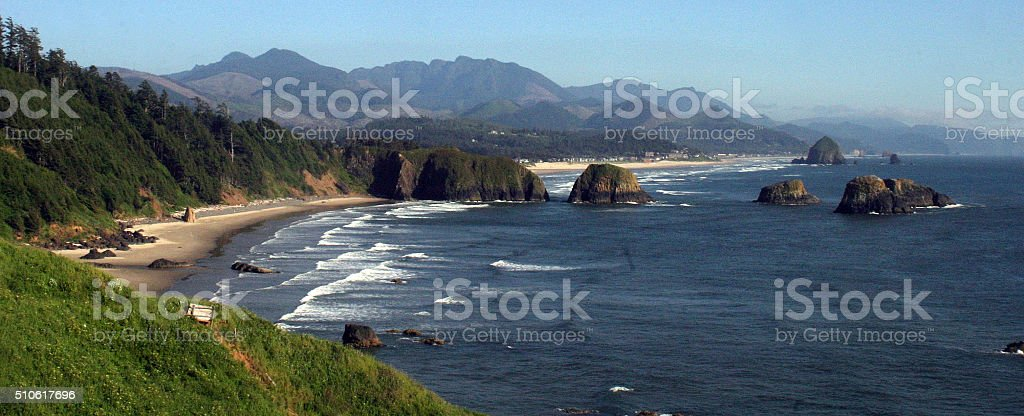 Sea stacks of Cannon Beach, north Oregon coastline stock photo