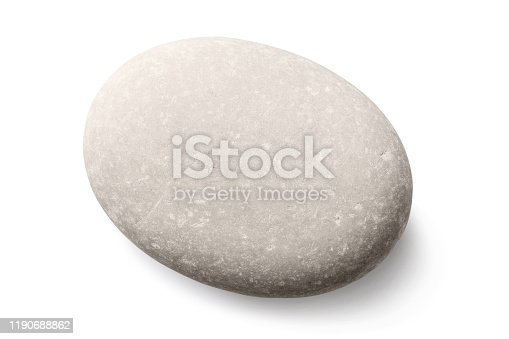 Sea stone of gray color isolated on a white background. Photo taken by stacking method