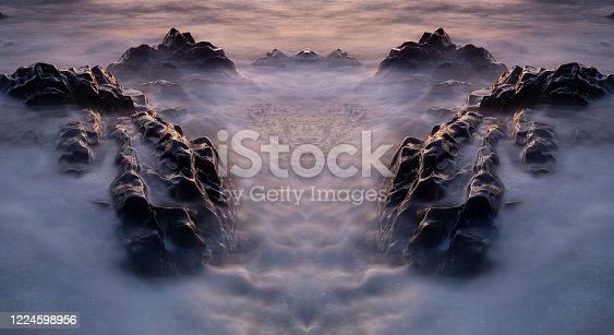 Sea Stones at Sunset, Symmetrical Kaleidoscope Abstract Background.
