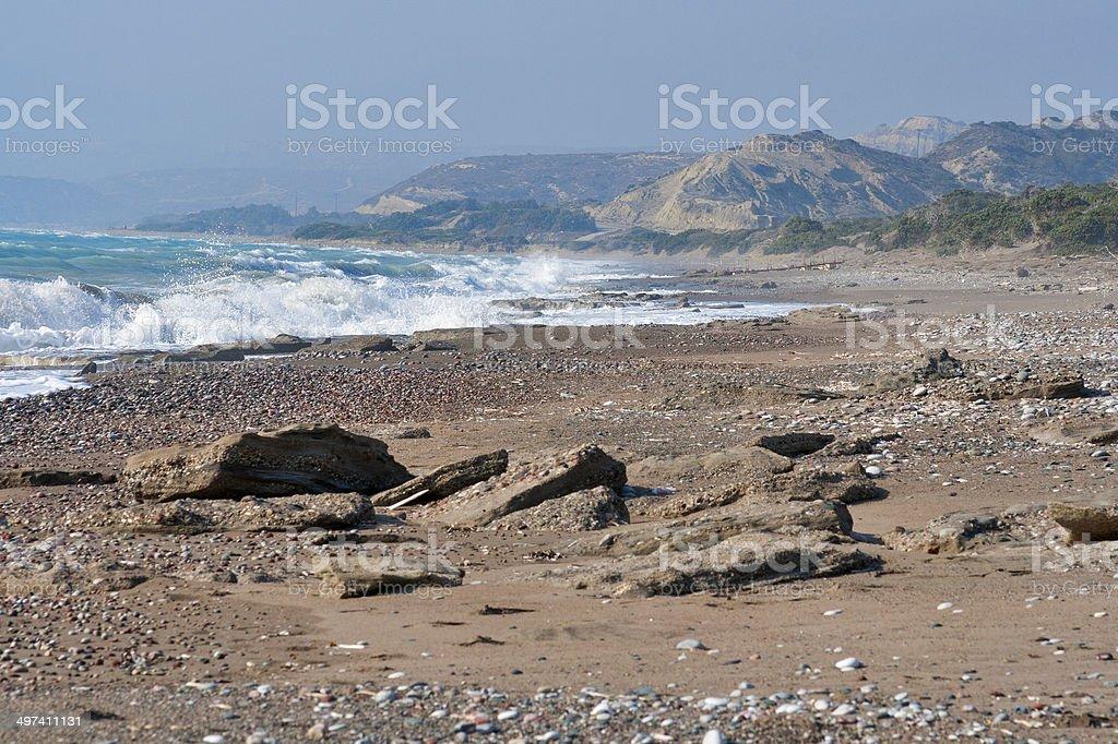 Sea storm, Rhodes, Greece royalty-free stock photo