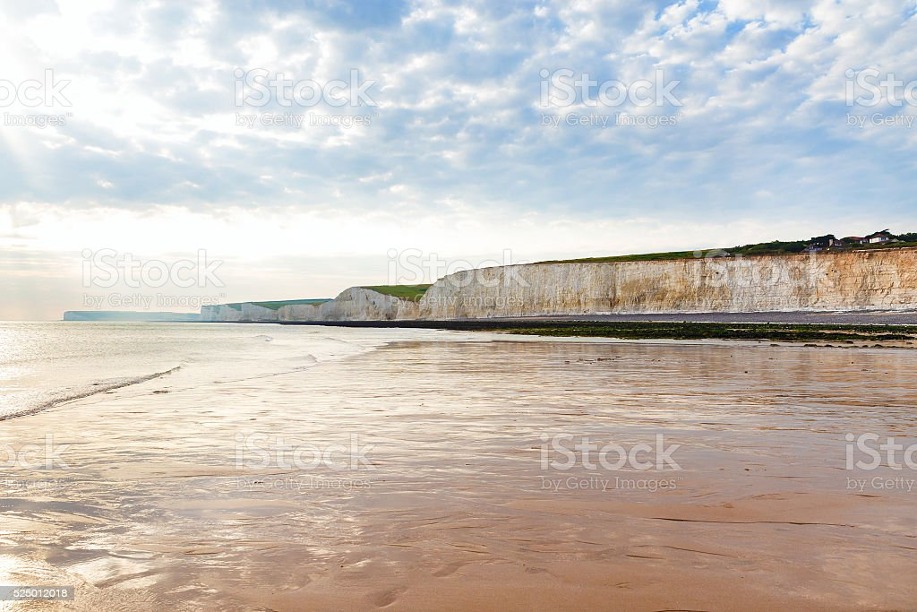 Sea sunset chalk cliff, Birling gap, Sussex, England stock photo
