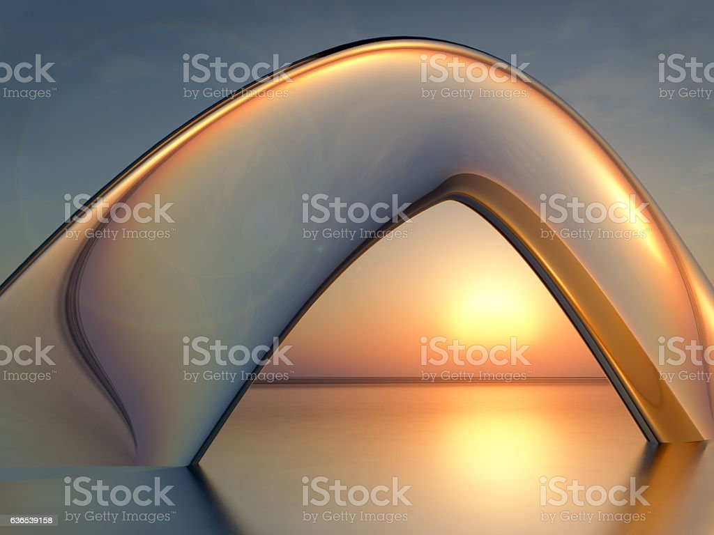 Sea Sunset Crystal Arch stock photo