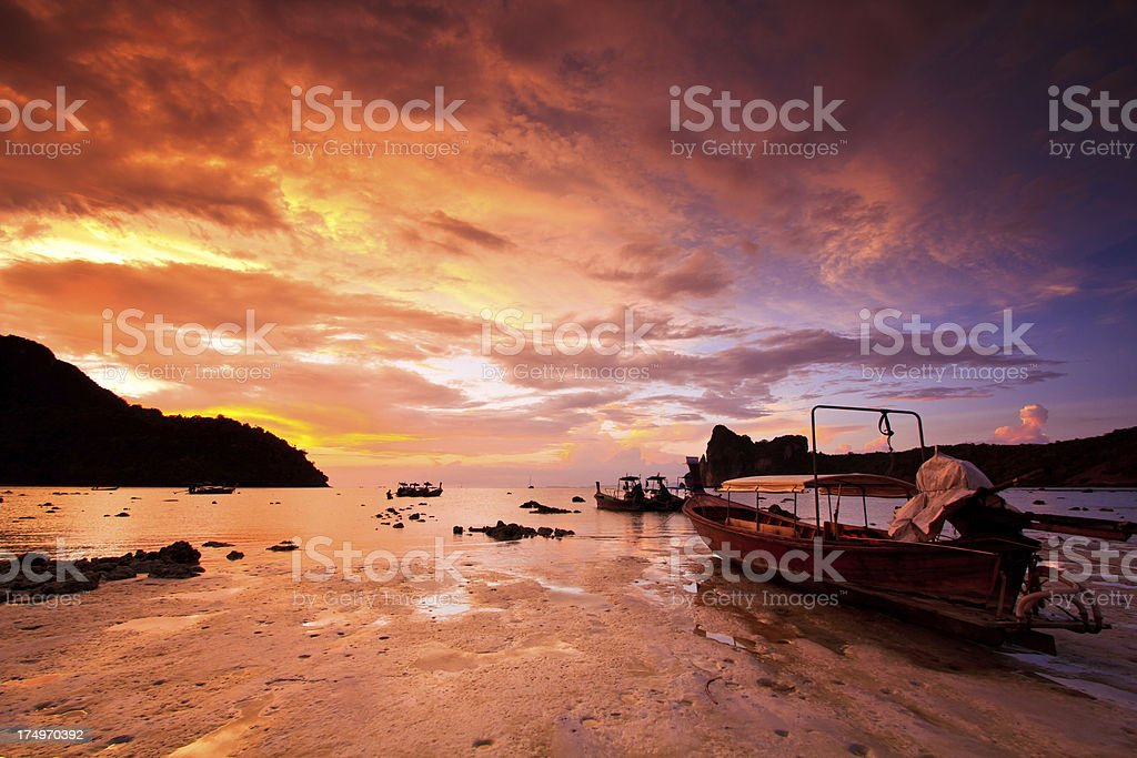 Sea sunset Island royalty-free stock photo
