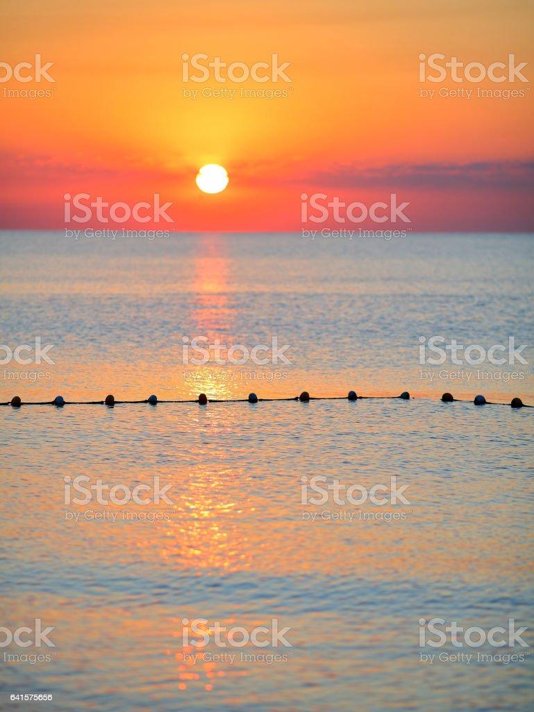 Sea surface against the sunset sky. Beautiful seascape - foto stock