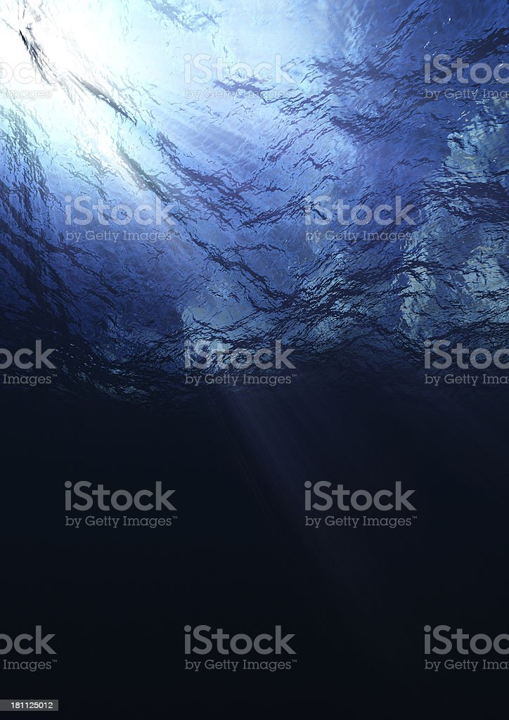 Sea Surface Underwater with Copy Space stock photo