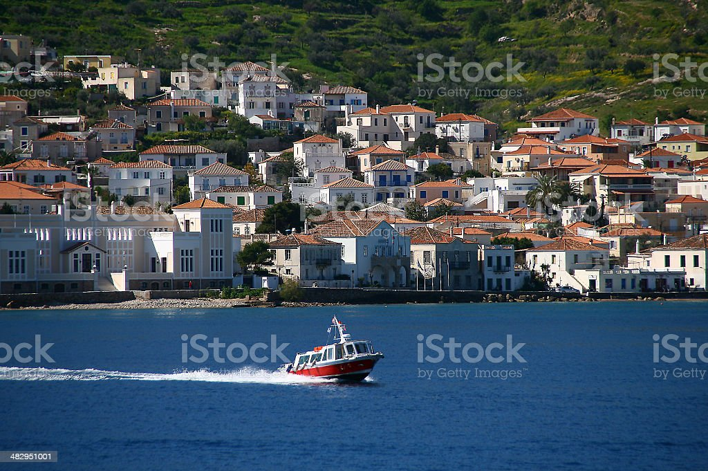 Sea Taxi on Spetses Island royalty-free stock photo