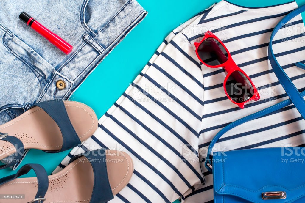 Sea theme female summer clothing collection stock photo