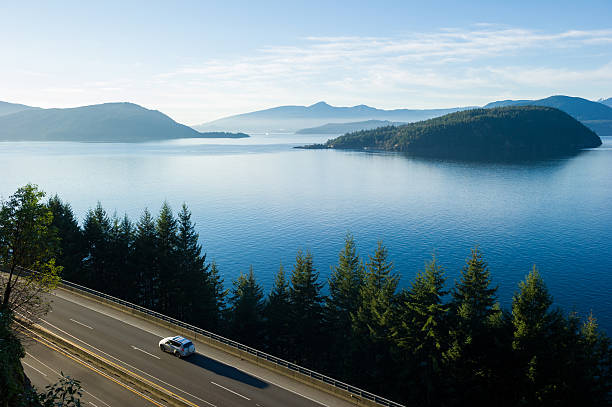 Sea to Sky Highway or Highway 99 Sea to Sky Highway (Highway 99) from Vancouver to Whistler in British Columbia, Canada british columbia stock pictures, royalty-free photos & images