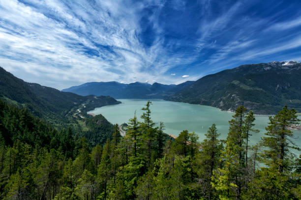 sea to summit view from top in summer, squamish, bc, canada - british columbia stock photos and pictures