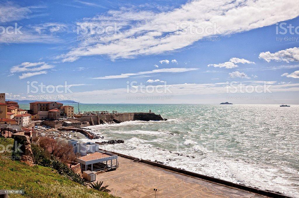 sea, town and coastline in Piombino, Tuscany royalty-free stock photo