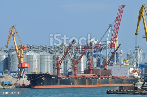 Bulk carrier WAJED IMO 9163491 is being loaded with 15000 tons of corn and 15000 tons of wheat at grain terminal in port of Odessa. May 18, 2019